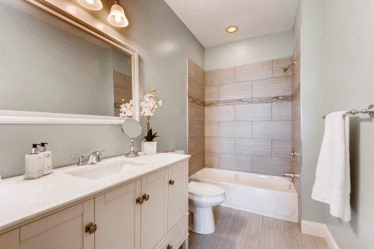 Master bathroom in Woodlawn Blue