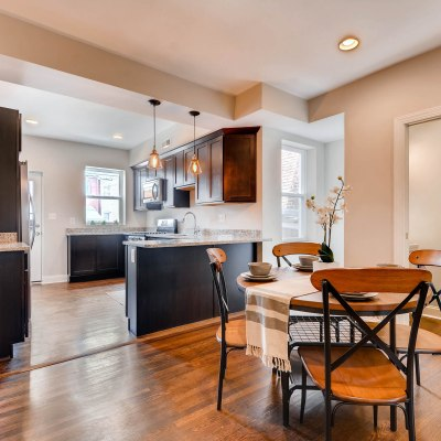 Dining room/kitchen in Edgecomb Gray